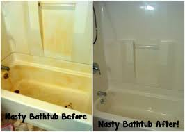 but with the combination of the dawn and vinegar mixture above followed by a magic eraser the homeowner was able to remove rust from the bathtub once and