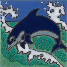 dolphin hand painted art tile