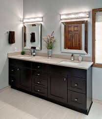 Bathroom  Dark Brown Wood Vanity With Stainless Shelves And White - Bathroom cabinet remodel