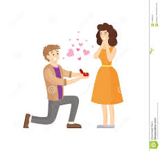 Man Making Proposal To Woman Presenting Her Ring Stock Vector
