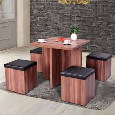 Giantex 5 Pieces Wood Dining Table And 4 Stools Set Modern Kitchen