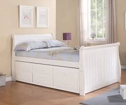 Sleigh Bed Bedroom Furniture Sleigh Full Size Captains Trundle Bed White Bedroom Furniture