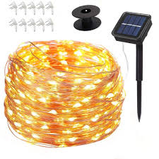 Povida Solar String Lights 75 Ft 200 Led Copper Wire Lights 8 Modes Starry Lights Indoor Outdoor Decorations Perfect String Lights For Wedding