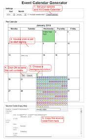 Calendar Generator Event Calendar Generator
