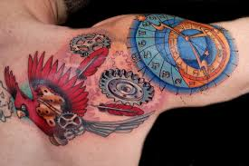 цветная тату часы птицы перо на спину голову руку для мужчин