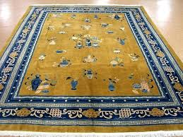 oriental rug galaxy antique art hand knotted wool yellow mustard blue ohio