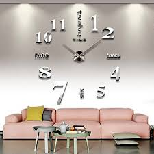 Amazing CoZroom Large Silver 3D Frameless Wall Clock Stickers DIY Wall Decoration  For Living Room Bedroom