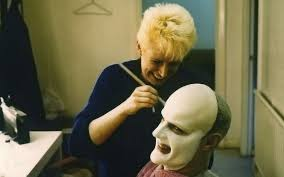 photo essay how make up and visual effects brought max headroom  make up artist fiona kemp applies the max prosthetics to matt frewer image courtesy of peter litten