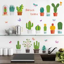 Detail Feedback Questions About Cactus Flower Pot Wall Stickers For