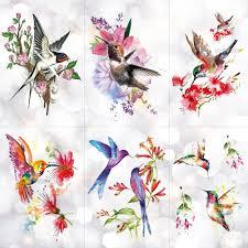 колибри цветочная акварель временные татуировки наклейки сливы