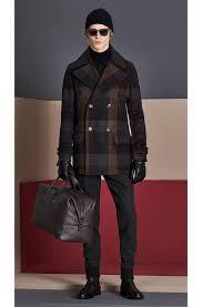 boss calon virgin wool checked hooded pea coat mens brown boss