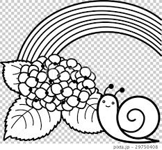 あじさい カタツムリ 虹 白黒線画ぬり絵のイラスト素材 29750408 Pixta