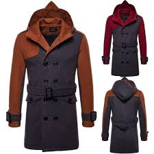 mens double ted long woolen cashmere coats outwear belt match colors hooded parka bzf2