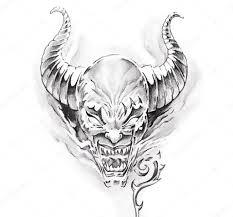 эскиз тату крылья искусство татуировки эскиз дьявола стоковое