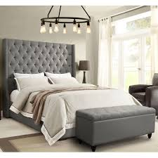 Park Avenue Eastern King Tufted Bed w/ Vintage Wing in Grey Linen by Diamond Sofa
