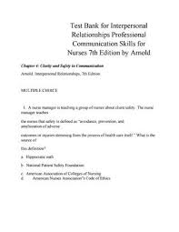 Interpersonal Relationships Test Bank For Interpersonal Relationships Professional