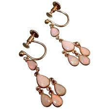 petite opal chandelier earrings 9ct gold