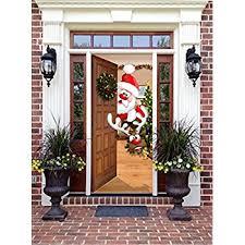 front door decor santa and rudolph