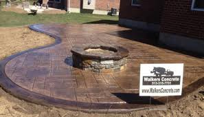 concrete patio with fire pit. Delighful Pit Stamped Concrete Patio With Fire Pit In E