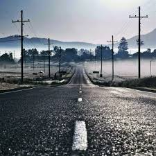 Road Fog Mountain Telegraph Pole Ipad Air Wallpaper Download