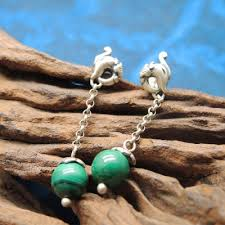 S925 pure silver earrings female Mosaic malachite tassel ... - Qoo10