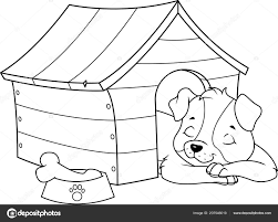 Pup Slapen Een Hondenhok Kleurplaat Pagina Stockvector Malyaka