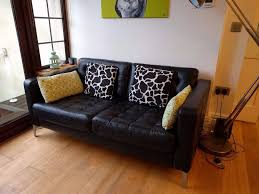 black leather ikea 2 seater sofa landskrona