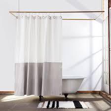 quiet town home orient shower curtain white canvas