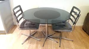 retro round dining table vintage set glass 2 revolving chairs grey extending uk