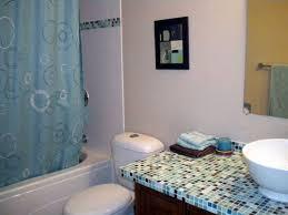 guest bath mosaic tile countertop in kaleidoscope colorways studio glass mosaic tile blend