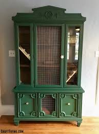 make a indoor rabbit hutch from a china cabinet