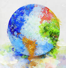 colorful globe painting on paper stock photo 12948608