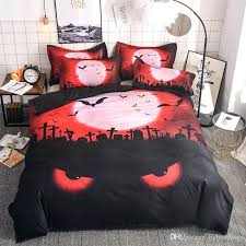 happy bedding set tombstone eye bat duvet cover pillowcases red black color microfiber bedclothes twin queen bedding sets grey and mustard red