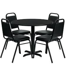 office round table round laminate table set with 4 black tzoidal back banquet chairs 3 table