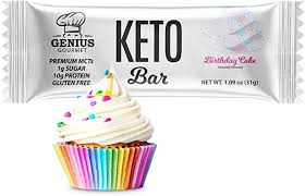 Perfect low carb cake for a small celebration! Amazon Com Genius Gourmet Gluten Free Keto Protein Bar All Natural White Chocolate Keto Bars Premium Mcts Low Carb Low Sugar Birthday Cake 12 Count Pack Of 1 Health Personal Care