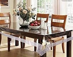 pindia 6 seater 60 x 90 inch silver border plain transpa waterproof table cover sheet mat