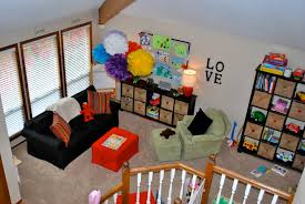 Inspiring Basement Playroom Ideas With Red Table And Sofas As Well As Black  Open Shelf Storage Cabinet Also Wooden Banister Stairs In Small Space Kids  Room ...