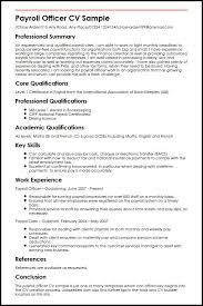 Ideas Of Payroll Resume Great Payroll Officer Cv Sample