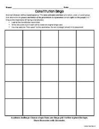 Constitution Bingo Anchor Chart Graphic Organizer Grades 4 7