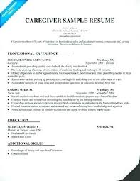 Care Giver Resume Cool Family Caregiver Resume Sample Also Sample Resume Of A Caregiver