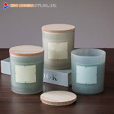 china whole custom modern frosted glass candle jar with wooden lid china glass candle jar with lid frosted glass candle jar with lid