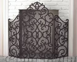 stained gold scroll fire screen