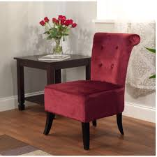 Burgundy Accent Chair Red Velvet Armless Accent Chair With High Back And Dark Brown