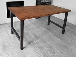 industrial wood furniture. H Frame Industrial Wood Dining Table Dark Brown \u2013 Graphite Black Steel Leg Trentside Furniture