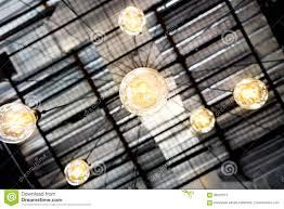 Edison Yellow Light Bulb Spider Chandelier Stock Photo