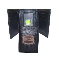 john deere mens leather trifold wallet