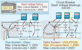 stumped by the code? requirements for slash versus straight voltage 208V Single Phase Wiring Diagram circuit breakers with a 120 240v slash rating can be used where the line to neutral voltage doesn't exceed 120v and the line to line voltage doesn't exceed
