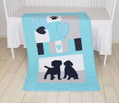 puppy blanket dog nursery quilt baby boy quilt boy crib bedding