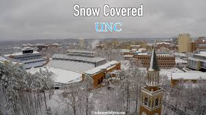 aerial of snow covered unc chapel hill in 4k youtube
