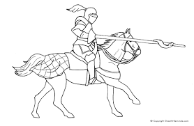 Knight On Horse Colouring Page